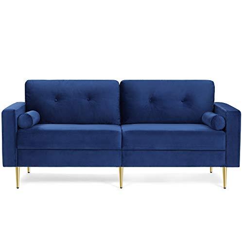 VASAGLE Sofá de 3 Plazas, Sofá de Sala de Estar, Superficie de Terciopelo, en Pequeño Espacio, Madera Maciza, Patas de Metal, Fácil Montaje, Diseño de Siglo Mediano,190 x 82 x 84cm,Azul LCS001Q01