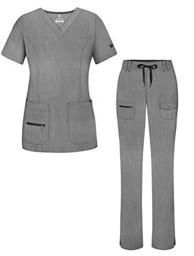 Adar Pro Heather Breakthrough Plus Scrub Set for Women - Enhanced V-Neck Top & Multi Pocket Pants - 4400H - Heather Grey - XL