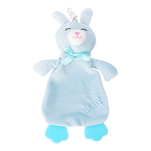 TOYANDONA Baby Sicherheitsdecke Niedlichen Tier Gesicht Sicherheitsdecke Plüsch Stofftier Kuscheltier Decke Schnuller Spielzeug Kaninchen Blau