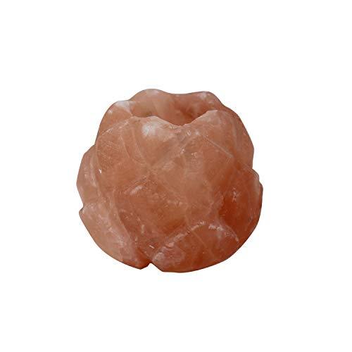 mitienda mit Liebe gemacht Teelichthalter Salzkristall Lotusblüte,Geschenkideen, Salzkristall, Teelichthal,Deko, Teelichthalter, Salzkristall, Salzteelicht, Windlicht, Lotusblüte