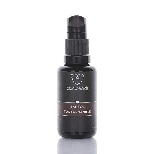 blackbeards Bartöl Tonka-Vanille – Duftet herrlich fein nach Vanille und herber Tonkabohne – Für die tägliche Bartpflege – Mit Jojobaöl und Arganöl – 30ml