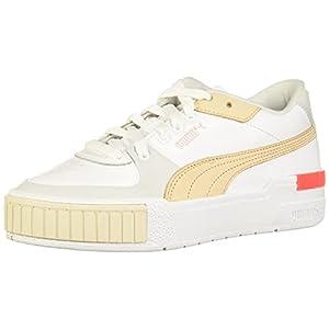 PUMA womens Cali Sport Sneaker, Puma White-gray Violet-shifting Sand-eggnog-fiery Coral, 8 US