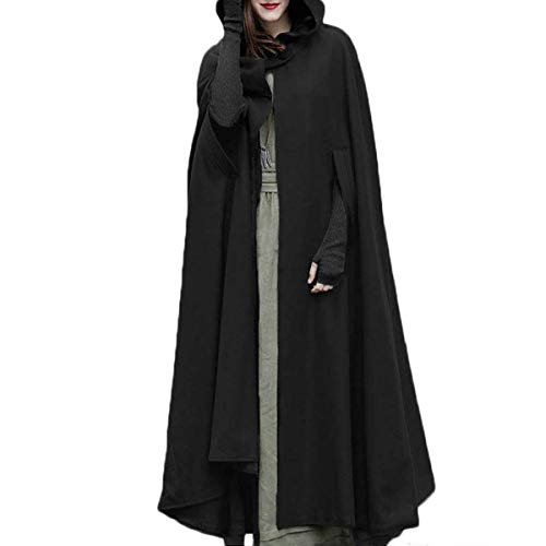 Women Trench Coat Open Front Cardigan Jacket Coat Cape Cloak Poncho Plus (Black, M)