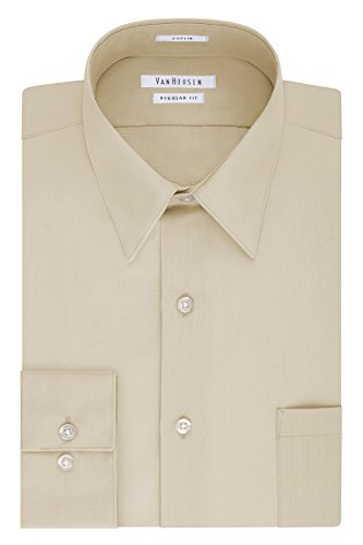 Van Heusen Men's Big and Tall Dress Shirt Regular Fit Poplin Solid, Stone, 18' Neck 36'-37' Sleeve (XX-Large)