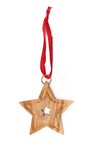 From The Earth - Olive Wood Star Christmas Ornament - Fair...