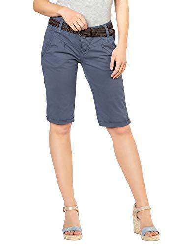 Fresh Made Damen Bermuda-Shorts im Chino Style mit Gürtel Middle-Blue L
