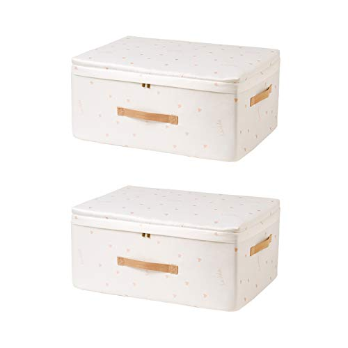 A Set of 2 Multifunction Foldable Storage Box with Handle, Portable Household Kitchen Bedroom Space-Saving Storage Baskets Closet Organizer Toys Baskets Kids Laundry Boxes,White,56 * 32 * 24CM