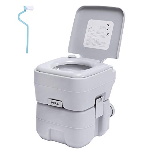 Portable RV Camping Toilet | Travel Toilet with 5.3 Gallon Detachable Waste Tank | for Caravan Roadtrip Hospital Sanitation Use | Double Outlet Commode with Cleaning Brush for Indoor Outdoor | Gray