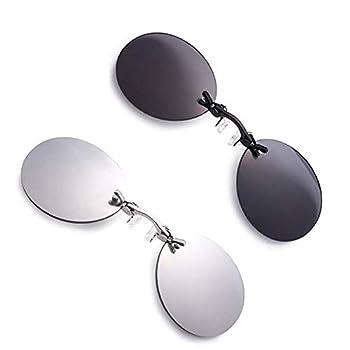 2 Pack Retro Round Clip On Nose glasses Matrix Morpheus Movie rimless sunglasses  2 Pack 2 Color