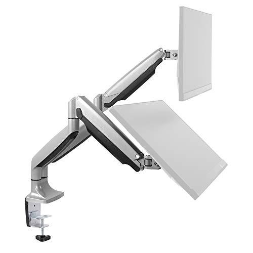 RICOO Monitor-Ständer Tisch-Halterung 2 Monitore Schwenkbar (TS9811) Universal für 15-27 Zoll (bis 9-Kg, Max-VESA 100x100) Bildschirm Stand-Fuss Vollbeweglich mit Gasdruck-Feder