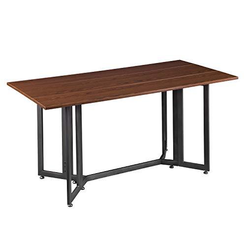 SEI Furniture Driness Drop Leaf Convertible Console Dining Table, Dark Tobacco/Gunmetal Gray