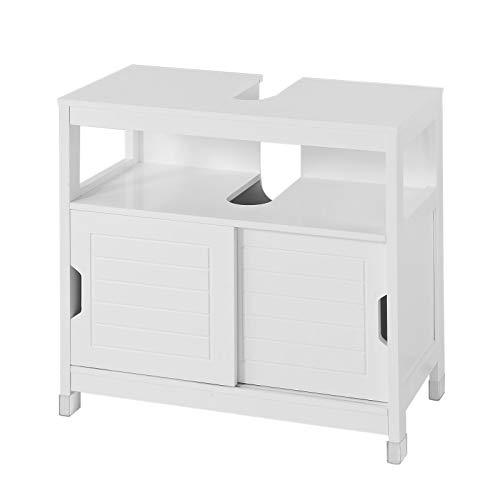 SoBuy® FRG128-W Waschbeckenunterschrank Badmöbel Badschrank mit Fußpolster Waschtisch Unterschrank weiß