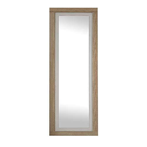 duehome Espejo de Pared, Espejo Rectangular, Esepjo Mural con Luna, Modelo Lara, Acabado en Color Cambria y Blanco, Medidas: 60 cm (Ancho) x 180 cm (Alto) x 3,5 cm (Fondo)