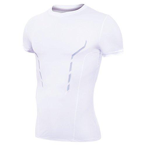 Rmine Herren Kompressionsshirt Schnell Trocknend Lauf Fitness Sport T-Shirt (Weiß-kurz, L)