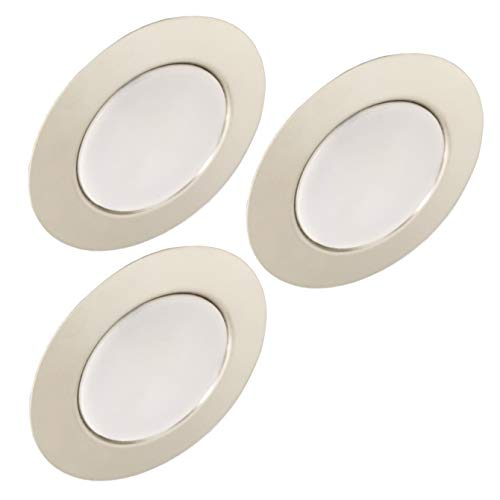 Trango Conjunto de 3 12V AC / DC Foco empotrable para muebles LED, luz empotrada, luz de techo TGG4E-038 en cromo para reemplazar luces de muebles convencionales G4 luces de campana de cocina, etc.