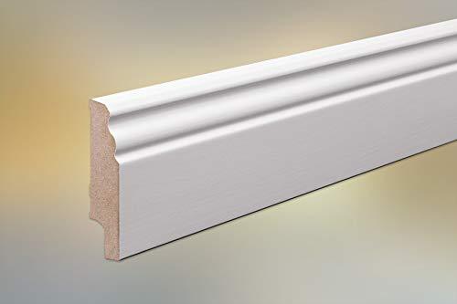 MDF Sockelleiste für Parkett und Massivholzdielen, Berliner Profil, 80 x 20 mm, weiß (RAL 9016) lackiert, Fixlänge 240 cm