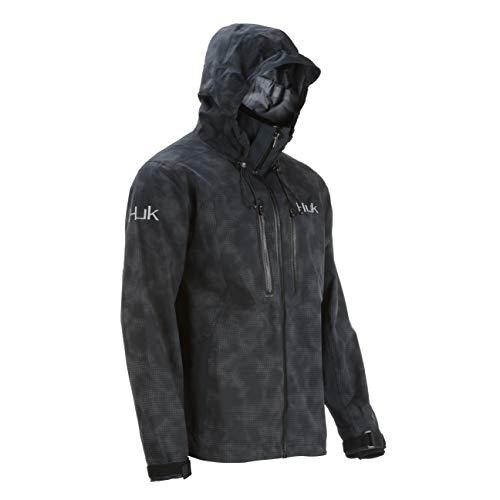 Huk Men's Leviathan Rain Jacket, Black, 2X-Large