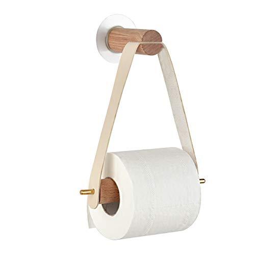 Porta rotolo di carta igienica senza foratura, in legno, vintage, per WC, bagno, decorazione da parete