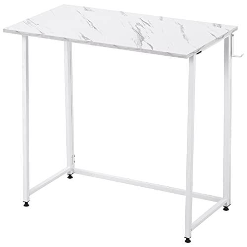 Escritorio plegable para ordenador, compacto y plegable, para el hogar, oficina, portátil, mesa de escritorio, mesa de estudio, color blanco