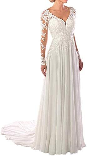 SongsurpriseMall Hochzeitskleider Chiffon Spitze V Ausschnitt Brautkleider große Größen Brautkleid Langarm Elfenbein EU48