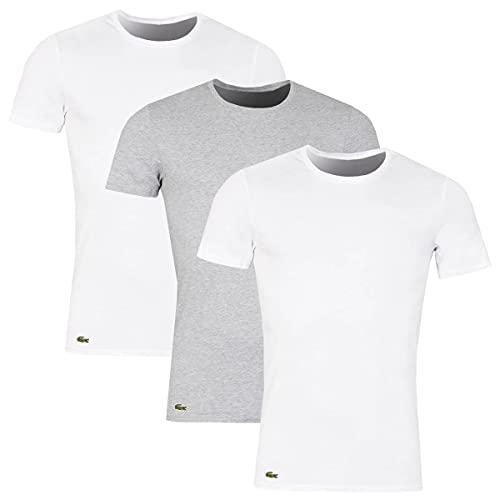 Lacoste pour des Hommes Lot de 3 t-Shirts Ras du Cou Essentials Lounge Slim, Multicolore, M