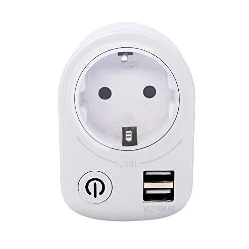 KKmoon Enchufe de pared inteligente USB Enchufe Interruptor Enchufe Inteligente USB Enchufe Cargador de teléfono Adaptador de cargador USB Interruptor de corriente Adaptador Corriente con USB