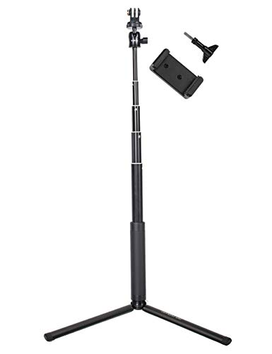 Smatree Teleskop Selfie Stick mit Stativ für DJI OSMO Action/Gopro Hero 9/8/7/6/5/4/3/2/1/Session/Fusion Kameras, Ricoh Theta S/V, M15 Kameras, Kompaktkameras und Handys