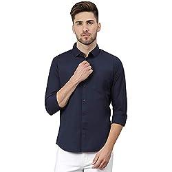 Dennis Lingo Mens Cotton Navyblue Solid Casual Shirt
