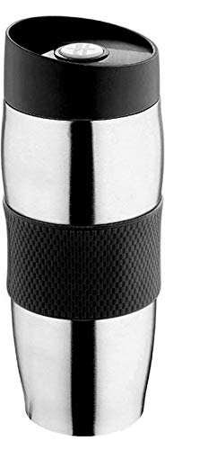 Thermobecher Kaffee To Go Becher Edelstahl 400ml Schwarz | Auslaufsicher Spülmaschinenfest | Isolierbecher Kaffeebecher Thermo