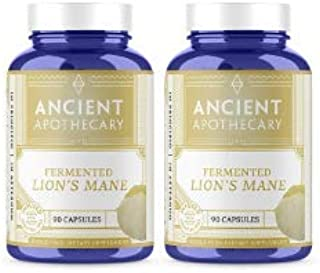 Ancient Apothecary Fermented Lion's Mane Mushroom Supplement, 90 Capsules — Infused with Organic Essential Oils, Ashwagandha Extract and Digestive Bitters (Pack of 2)