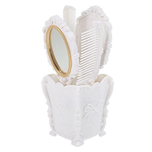 HEALLILY 5 Piezas de Peine de Espejo de Mano Vintage con Maceta de Almacenamiento Espejo Cosmético Antiguo Cepillo de Pelo Mojado Seco Rizado Herramienta de Estilo