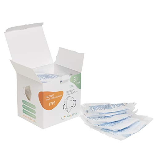 Rexpiria pack 50 ffp2-masken modell gs001, halbgesichtsmaske, filtermaske, einzeln verpackte ffp2-Maske, ce 2163-zertifizierung, 94% schutz