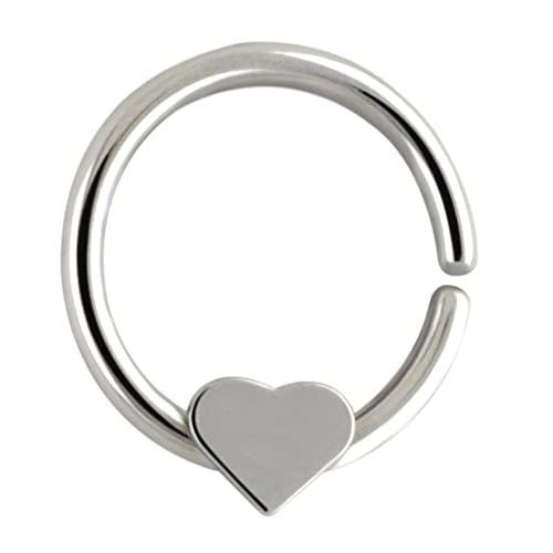 fafafa Anillo de nariz 1 pieza de anillo de nariz con forma de corazón lindo aro de acero inoxidable 316L de moda para septum, joyería para mujeres y hombres (color metálico: ninguno)