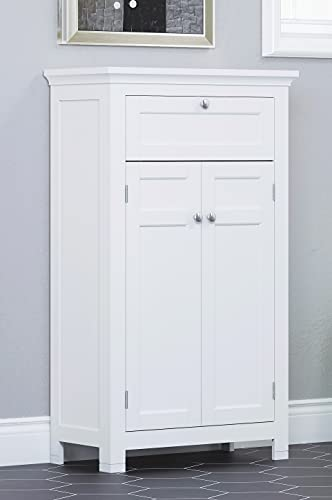 Spirich Home Freestanding Bathroom Cabinet with Drawer and Adjustable Shelf, Kitchen Cupboard,Tall Storage Cabinet, 23.6 W x 11.81D x 40.15 Inches, White
