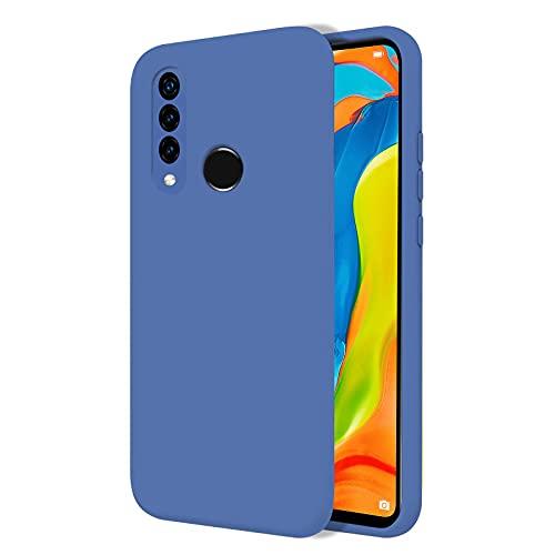 TBOC Funda para Huawei P30 Lite [6.15']- Carcasa Rígida [Azul] Silicona Líquida Premium [Tacto Suave] Forro Interior Microfibra [Protege la Cámara] Antideslizante Resistente Suciedad Arañazos