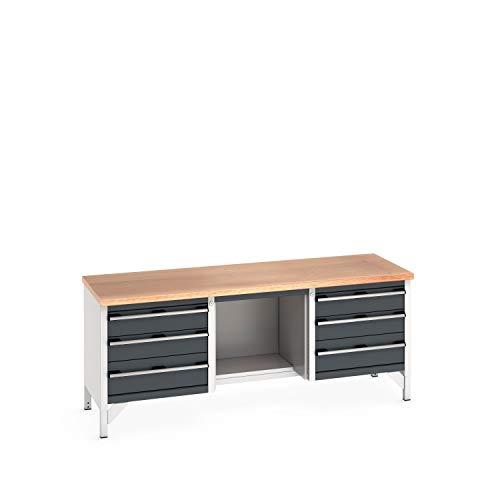 cubio Kastenwerkbank mit 6 Schubladen, Ablage, Multiplex-Arbeitsplatte
