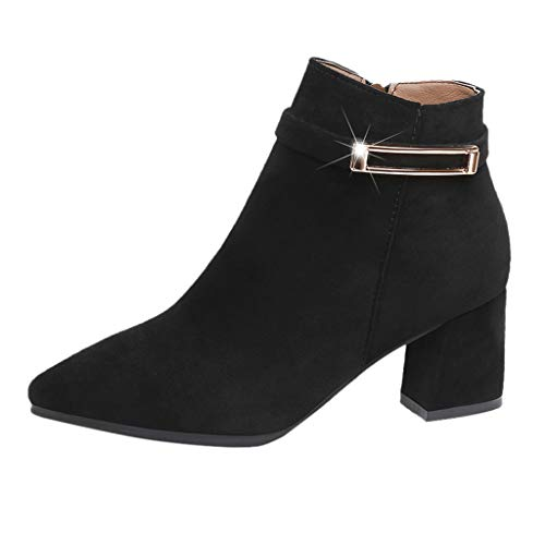AIni Zapatos De Mujer Botas Elegantes De Color Liso Tacones Altos Puntiagudos Zapatos Con Hebilla Botines De Ante Botas Cortas Con Cremallera Lateral TacóN Ancho Alto 6CM Negro Rosa Caqui 35-40 EU ✅