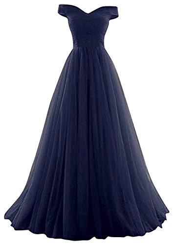 Romantic-Fashion Damen Ballkleid Abendkleid Brautkleid Lang Modell E270-E275 Rüschen Schnürung Tüll DE Dunkelblau Größe 34