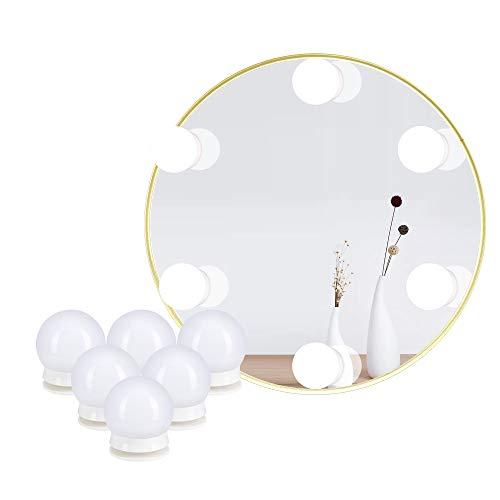 Waschtischleuchten für DIY Hollywood Mirror, Make-up-Leuchten für Schminktische, LED-Streifenleuchten-Kit mit Dimmerschalter für Berührungssensor und Netzteil, 10 Lampen (6 Bulbs)