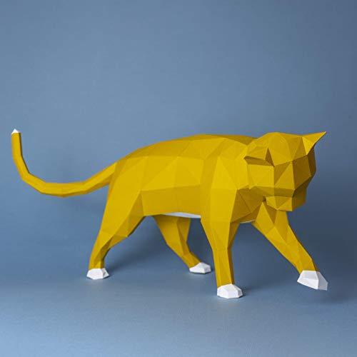 Gato travieso amarillo Papercraft kit,Yona DIY Kit de origami 3D para montar a mano, 3D Puzzle para la decoración de hogar,Trofeo de papel, Regalo de papel,Bricolaje en papel, Rompecabezas 3D