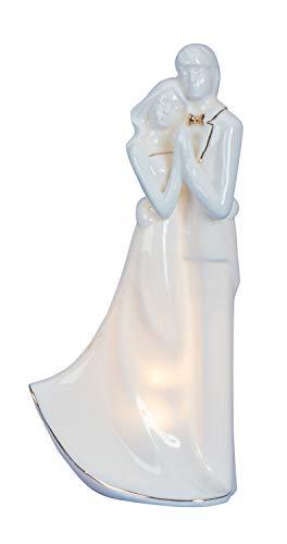 Moderne Skulptur Deko Figur Liebespaar weiß inklusive LED Beleuchtung Höhe 23 cm