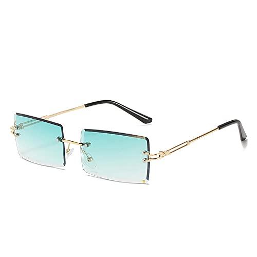Gafas De Sol Hombre Mujeres Ciclismo Gafas De Sol Cuadradas Sin Montura De Moda Gafas De Sol para Mujer Gafas De Sol Cuadradas Coloridas De Metal-Gold_Gradient_Green