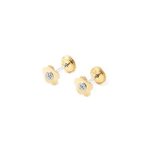 Orecchini per bambini fiore margherita - oro giallo 18k (750)