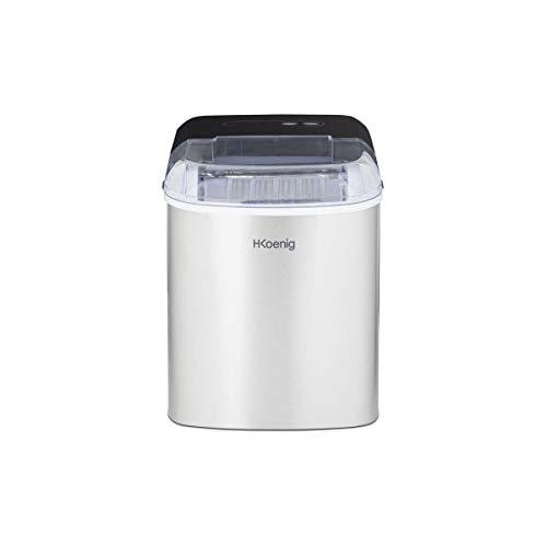 H.Koenig Eiswürfelmaschine ICEK12 - ca. 12 kg Eiswürfel pro Tag, Produktionszeit 10-13 min. - 2 Eiswürfelgrößen - Wasserstandsanzeige, 120 W - Edelstahl - silber