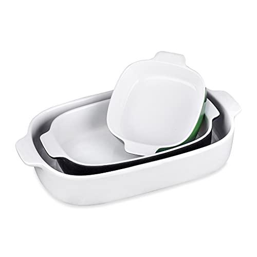 SHYPT Placa de plato de horno de gres de colores de 3 piezas de 3 piezas Ideal for la lasaña/tartas/cazuela/tapas/ensalada