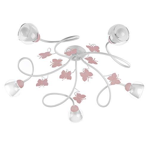 ONLI Plafoniera 5 luci cameretta in Metallo Bianco con Farfalle dipinte Rosa