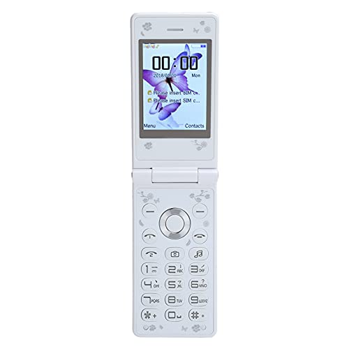 CCYLEZ Mini teléfono móvil ultradelgado de 2,4 Pulgadas, teléfono móvil Plegable, 32 MB + 32 MB, teléfono móvil 2G, Compatible con Bluetooth, MP3 / MP4, fácil de Usar, Adecuado para Padres(Blanco)