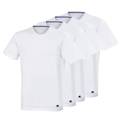 Champion Herren Crew Neck X4 T-Shirt, Weiß (Blanc 0rl), Large (4er Pack)
