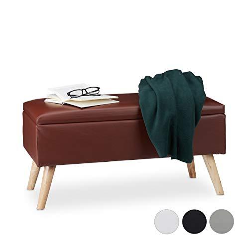 Relaxdays Sitzbank mit Stauraum, 40 L, gepolstert, Holzbeine, Truhenbank Kunstleder, HxBxT: 40 x 80 x 39,5 cm, braun