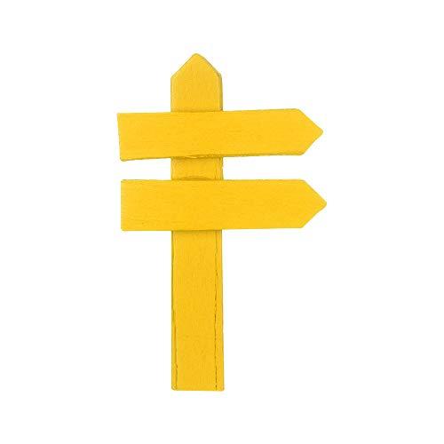 maylace Miniatur-Holzzaun, 10 Stück, modische DIY-Puppenhaus, Bonsai-Holzzaun, Wegweiser, Basteln, Mini-Miniatur-Gartendekoration (gelb)